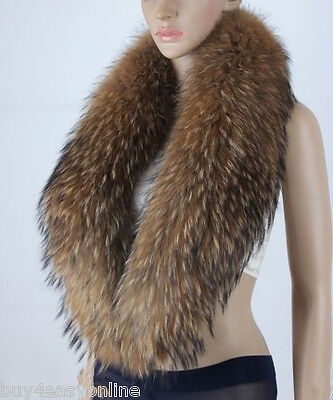 "Men Real Raccoon Fur Collar Scarf Natural Color Neck Warmer 110X20cm/43X8""inches"