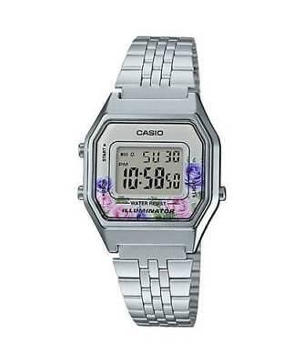 NEWEST Casio LA680WA-4C Women Mid-Size Silver Digital Retro Vintage Watch FLORAL