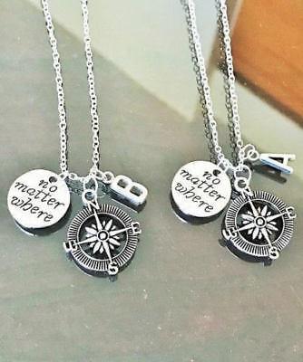 2pc No Matter Where Compass Initials Necklace Best Friends Couple Wanderlust (Best Matters)