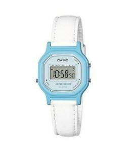 Casio LA11WL-2A, Women's Digital Watch, White Leather Strap, Alarm