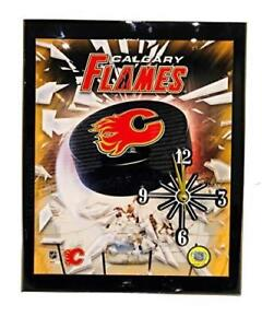 "Calgary Flames (10"" x 12"") Hand Crafted Analog Wall Clock - Battery Operated - Quartz Movement Quality Clock"