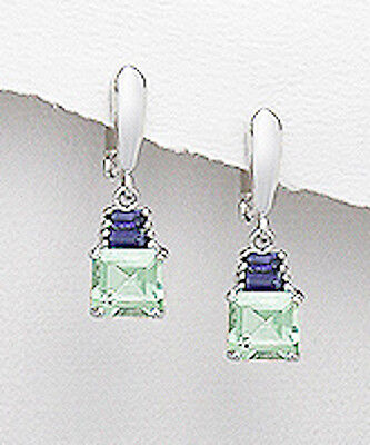 - Sterling Silver Green Amethyst & Genuine Purple Iolite Earrings Posts +Clips