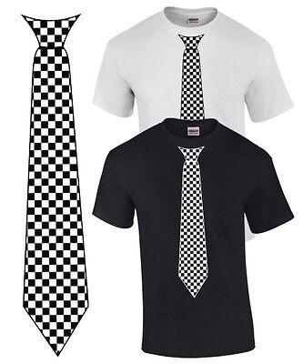 T-SHIRT mit KRAWATTE Anzug Fliege SKA Flag CHECKER - T Shirt Mit Anzug