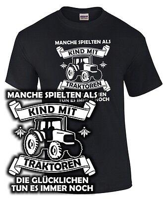 DIE GLÜCKLICHEN TUN ES IMMER NOCH Traktor Bauer Landwirt Spruch lustig T-SHIRT