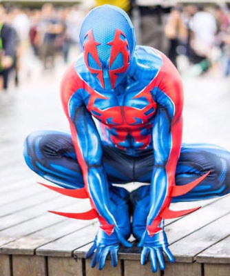 Mens Muscle Suit (2099 Ultimate Spider-Man Costume Muscle Zentai Suit Cosplay Halloween Blue &)