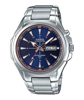 NEW Casio MTP-E200D-2A2 Men's Stainless Steel Watch Illuminator Day Date BLUE