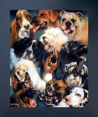 Collage of Dogs Breeds Cute Animal Kids Room Wall Decor Framed Art Picture 20x24
