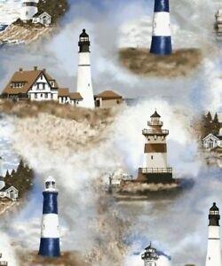 Lighthouses Lighthouse Light House Ocean Oceanside Fleece Fabric Print A246.01