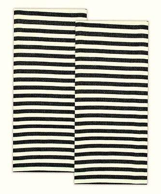 Black Petite Parisian Stripe Cotton Dish Towels Set of 2 DII Design Imports