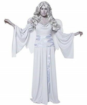 Cemetery Angel Halloween Costume (Angel Costume Gray Gothic Cemetery Statue Look 3Pc Dress Wings & Sleeves)