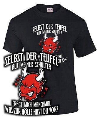 SELBST DER TEUFEL FRAGT MICH T-Shirt Spruch lustig böse Gothic Satan 666 Hölle