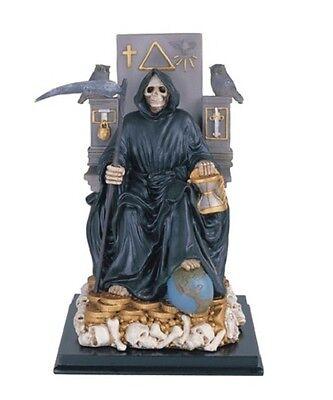 11 Inch Black Santa Santisima Muerte Holy Death Grim Reaper Statue Skull Figure