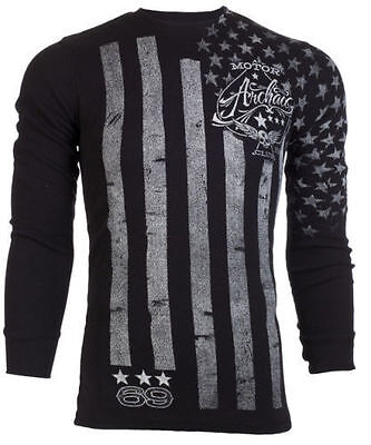 Flag Thermal Shirt - ARCHAIC AFFLICTION Mens LONG SLEEVE THERMAL Shirt NATION American USA FLAG $58 a