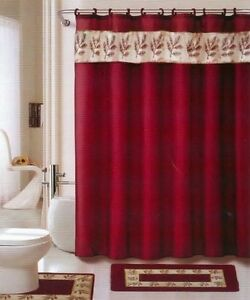 18 pc bath rug set oakland burgundy gold bathroom shower for Brown and gold bathroom sets