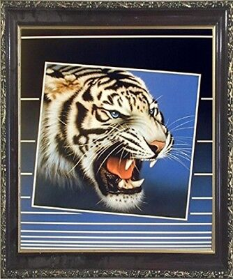 Tiger Roaring Blinds Close-up Home Decor Wall Art Mahogany Black Framed - Mahogany Home Decor