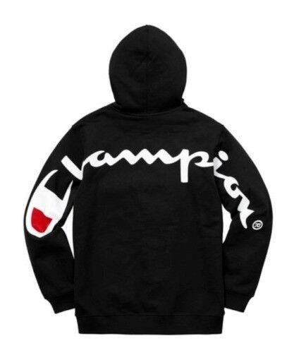 Supreme x Champion Hooded Sweatshirt - Black - Large - Brand New ... f97f8ed028ef