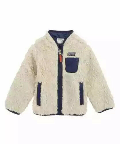 NWT Patagonia Baby Toddler  Retro-X Fleece Jacket Natural Navy 12-18 months