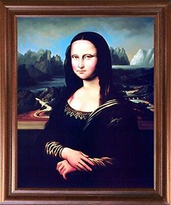 Leonardo Da Vinci Mona Lisa Reproduction Wall Decor Mahogany Framed - Mona Lisa Framed