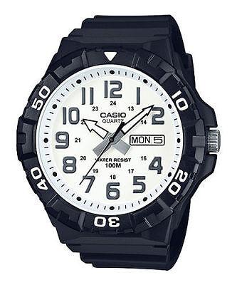 Casio MRW210H-7AV, Oversized Dial, Black Resin Band, Day/Date, 100 Meter WR Black Dial Black Meter