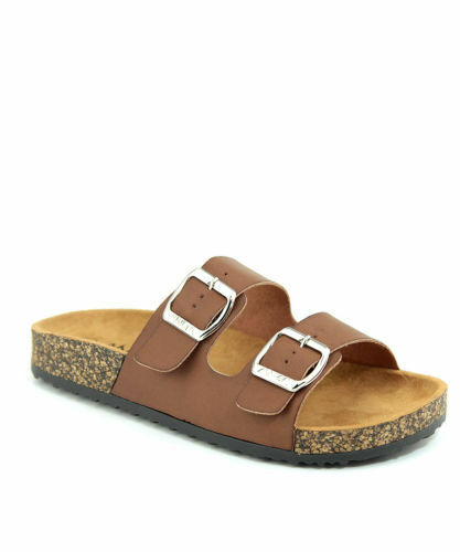 New Womens Double Strap Cork Sole Sandals Double Buckle Open Toe Flip Flop Shoes | eBay