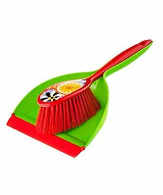 Vigar Citric Dust Pan and Brush Handy Set 12-3/4-Inches Multi-Colored