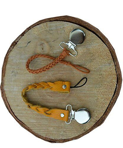 Braided leather pacifier strap clip and Natural Wooden Teeth