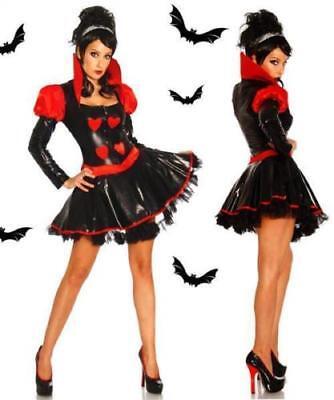 Damen Vampir -Petticoat-Kostüm Halloween Kostüm XS,M Grusel schwarz -rot Neu
