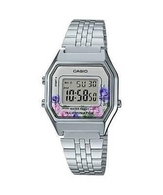 Casio LA680WA-4C Women Mid-Size Silver Digital Retro Vintage Watch FLORAL New