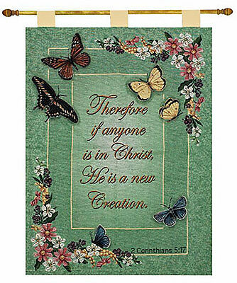 Butterfly Tapestry Wall Hanging - Graceful Flight ~ Spring Butterfly Tapestry Wall Hanging w/Inspirational Verse