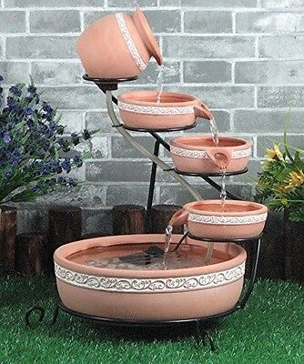 Solar Powered Terracotta Cascading Pots Water Feature