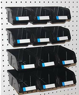 Wallpeg Pegboard Bins - 12 Pack - Hooks To Peg Board - Organize Hardware Acces