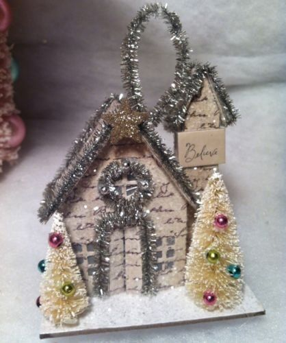 Paper Putz house with Bottle Brush trees Christmas tree Ornament old stock