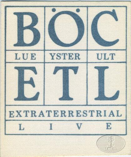 BLUE OYSTER CULT 1982 ETL Tour Backstage Pass