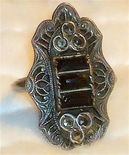 Antique Black Onyx Ring Ebay