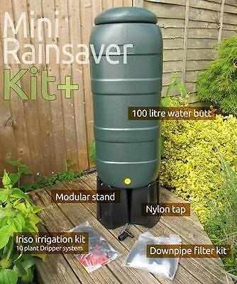 Mini (100 Litre) Rainsaver water butt Kit & Iriso 10 Drip Feeder Offer- Collect