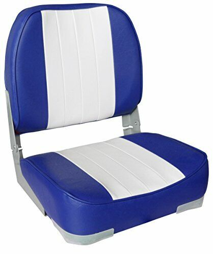 Leader Accessories Deluxe Folding Marine Boat Seat (White/Blue)