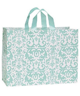 Shopping Bags Plastic 25 Aqua Blue Damask Frosty Frosted Gift Large 16 X 6 X 12