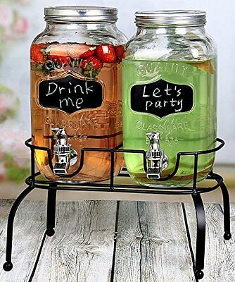 Double Glass drink dispenser with chalkboard