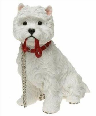 "Westie with Lead West Highland Terrier Dog Ornament Sitting ""Walkies by Leonardo"