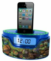 Viacom Teenage Mutant Turtles Radio Alarm Clock Ipod Dock W/Built In Speaker