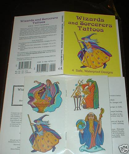 Wizards and Sorcerers Temporary Tattoo Set Party Favor Fantasy Witch Magic