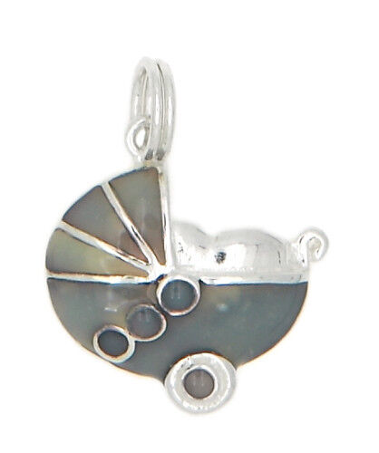 STERLING SILVER BABY CARRIAGE WITH ENAMEL CHARM OR PENDANT