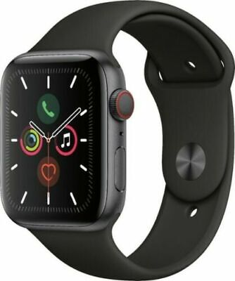 Apple Watch Series 5 44mm Space Gray Aluminum Case Black Sport Band GPS+Cellular