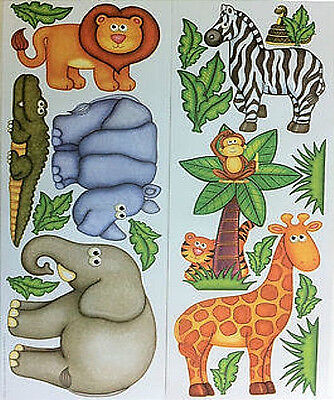 JUNGLE/SAFARI/ZOO ANIMALS wall stickers 19 decals decor monkey zebra elephant (Jungle Animals Wall Stickers)