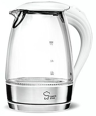 Chef's Star Borosilicate Glass Electric Kettle,1.7 L (White & Stainless Steel)