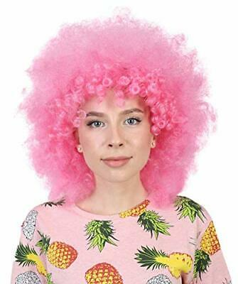 Banana Costume Super Afro Scary Clown 70's Disco Halloween Wig, Pink