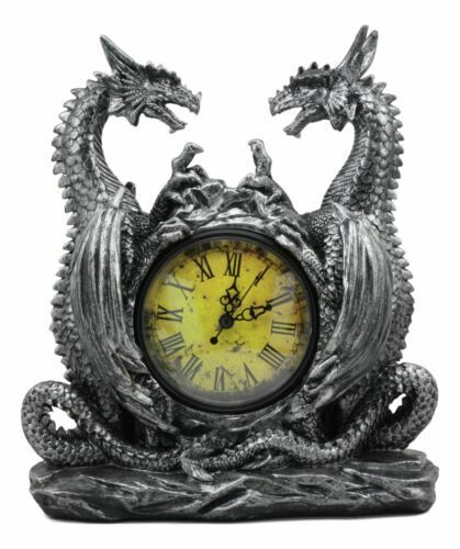 """Ebros Gothic Twin Dragons Table Clock Statue 11.25"""" Tall with Roman Numerals"""