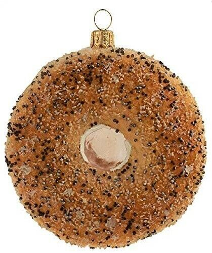 Everything Bagel Bread Food Polish Glass Christmas Tree Ornament Baker 110285