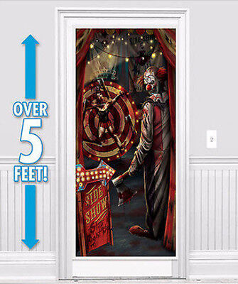 HALLOWEEN party Scene Setter creepy  EVIL carnival CLOWN wall door poster decor
