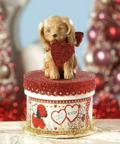 Valentine Puppy Love On Box Figurine Bethany Lowe Retro Love New